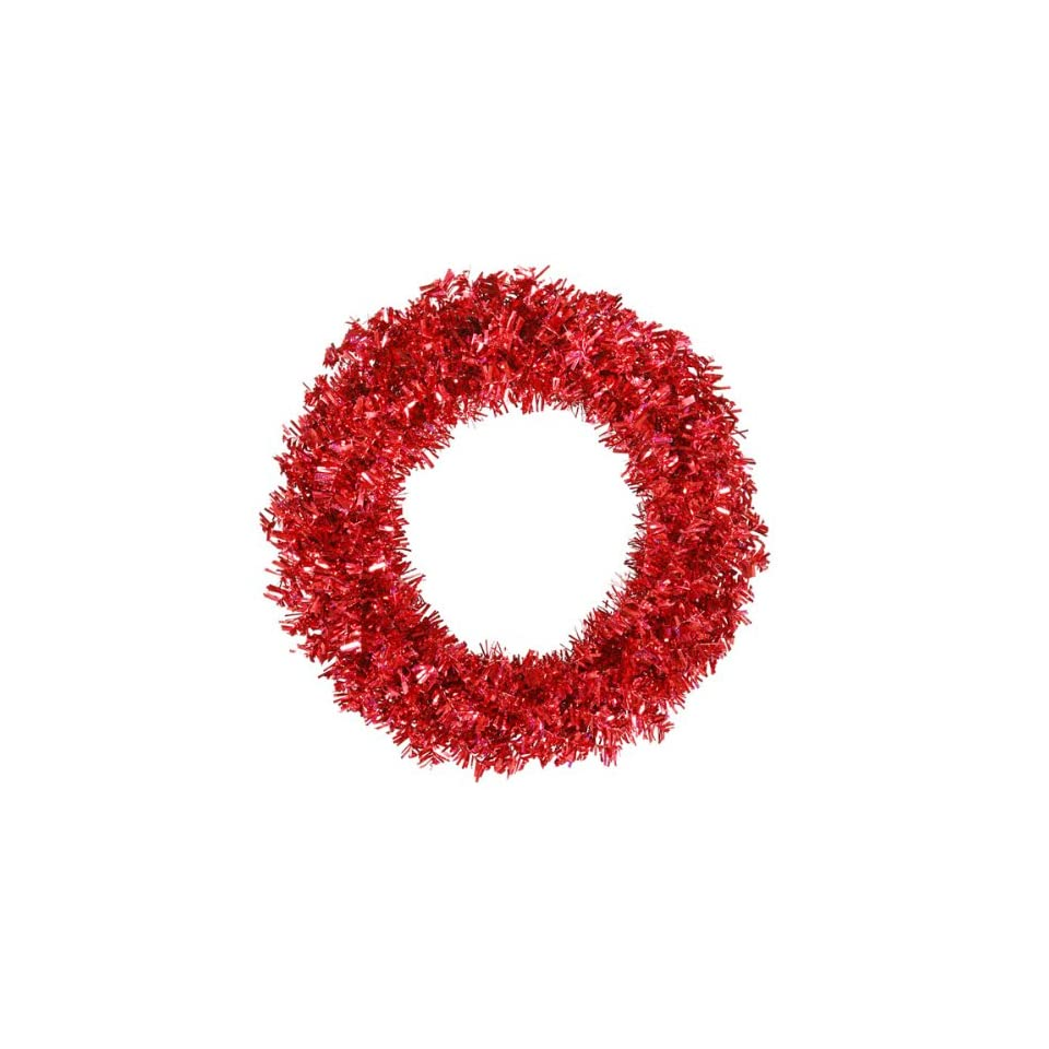 36 Pre Lit Red Hot Wide Cut Tinsel Artificial Christmas Wreath   Red Lights