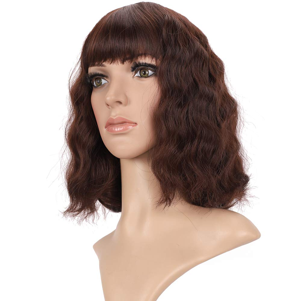 Amazon Com New Arrive Hair Style Mix Black And Dark Brown Color 12 13 14 Inch Bob Wigs With Bangs For Fashion Women And Girls Affordable Wig Can Be Change Hair Style