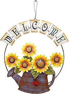 Rainbow Handcrafts Large Vintage Metal Hanging Watering Can Design with Sunflower Wecome Sign Wall Front Door Garden Kitchen Patio Decoration Sunflower Door Wreaths 14''x15.5''