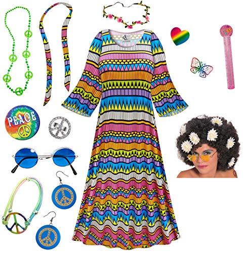 Delirium Hippie Dress Plus Size Halloween Costume Curly Wig Kit 5X ()