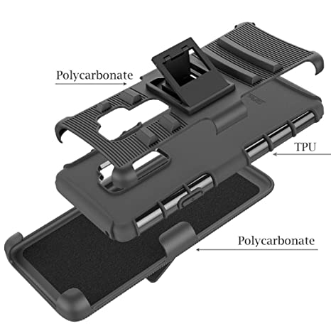 Amazon.com: Voberry Hybrid Phone Case Kickstand Holster Belt Clip Cover For Samsung Galaxy S9 Plus (Black): Clothing