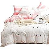 Hanacat 布団カバー セミダブル 4点セット 掛け布団カバー ボックスシーツ 枕カバー 洋式 ベッド用 ネコ柄