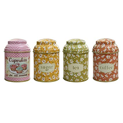 Amazon.com: WHHOME Decorative Cute Metal Food Canisters with ...