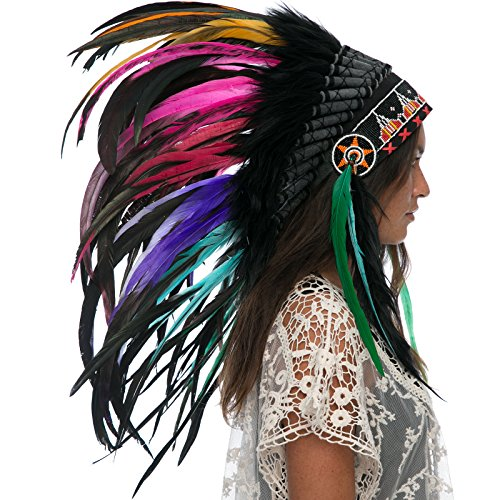 Feather Headdress- Native American Indian Style- Handmade by Artisan Halloween Costume for Men Women with Real Feathers - Electric (Balinese Hat)