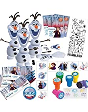 Frozen 2 Birthday Party Favors and Goodie Bag Fillers For 12 Guests With Make an Olaf Craft Kit, Frozen Stampers, Frozen 2 MINI Activity Packs, Crayons, Tattoos and Believe Pin