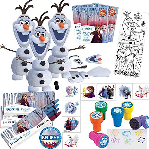 Party De Frozen (Frozen 2 Birthday Party Favors and Goodie Bag Fillers For 12 Guests With Make an Olaf Craft Kit, Frozen Stampers, Frozen 2 MINI Activity Packs, Crayons, Tattoos and Believe)