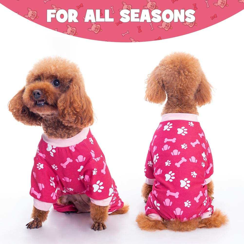 Soft Comfortable Doggy Pajamas with Cute Bone and Footprint Pattern for Indoor Small Medium Dogs BINGPET Dog Pajamas Pet Puppy Shirt for Sleeping Clothe