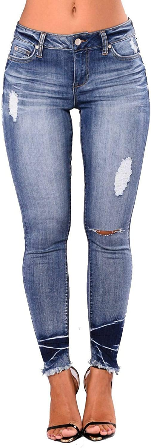 Womens Ladies Girls HIGH Waisted Extreme Ripped Slim Skinny Jeans Size 6-22