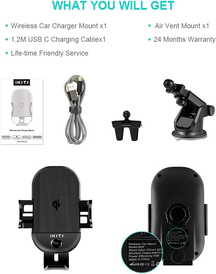 IKITS Qi Car Charger 15W Auto Clamping Car Phone Holder Air Vent Clip Windshield Dashboard Stand with Sucker for iPhone 11 Pro Max XS XR 8 7 Car Phone Mount Wireless Charger Galaxy S10 S10 S9 S8