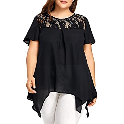 8e5a457b3ae Image Unavailable. Image not available for. Color  Womens Fashion O-Neck Plus  Size Lace Short Sleeve Trim Cutwork T-Shirt Tops