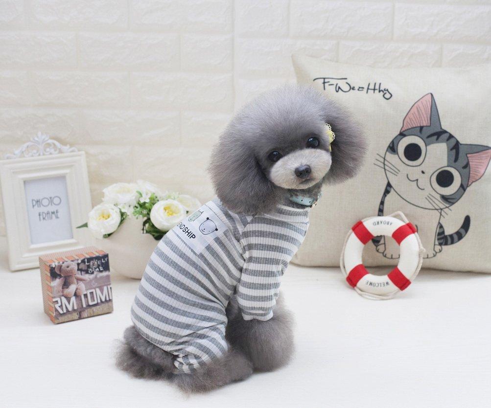 ZUNEA Stripe Pigiama per cani di piccola taglia Cotton Puppy Tuta Felpe Abiti Cosy Soft Leisure Autunno Pet Cat Doggy Apparel Grigio XXL