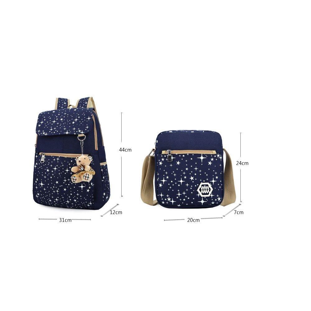 black Girls Canvas Backpack Set 3 Pieces Patterned Bookbag Laptop School Backpack