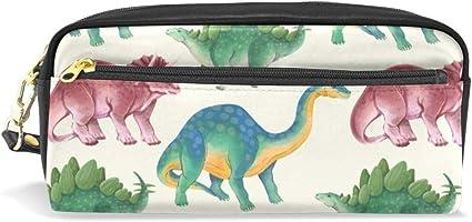 Estuche de piel sintética para lápices, diseño de dinosaurios acuarela con cremallera para niños, adolescentes, niños, niñas, hombres y mujeres: Amazon.es: Oficina y papelería