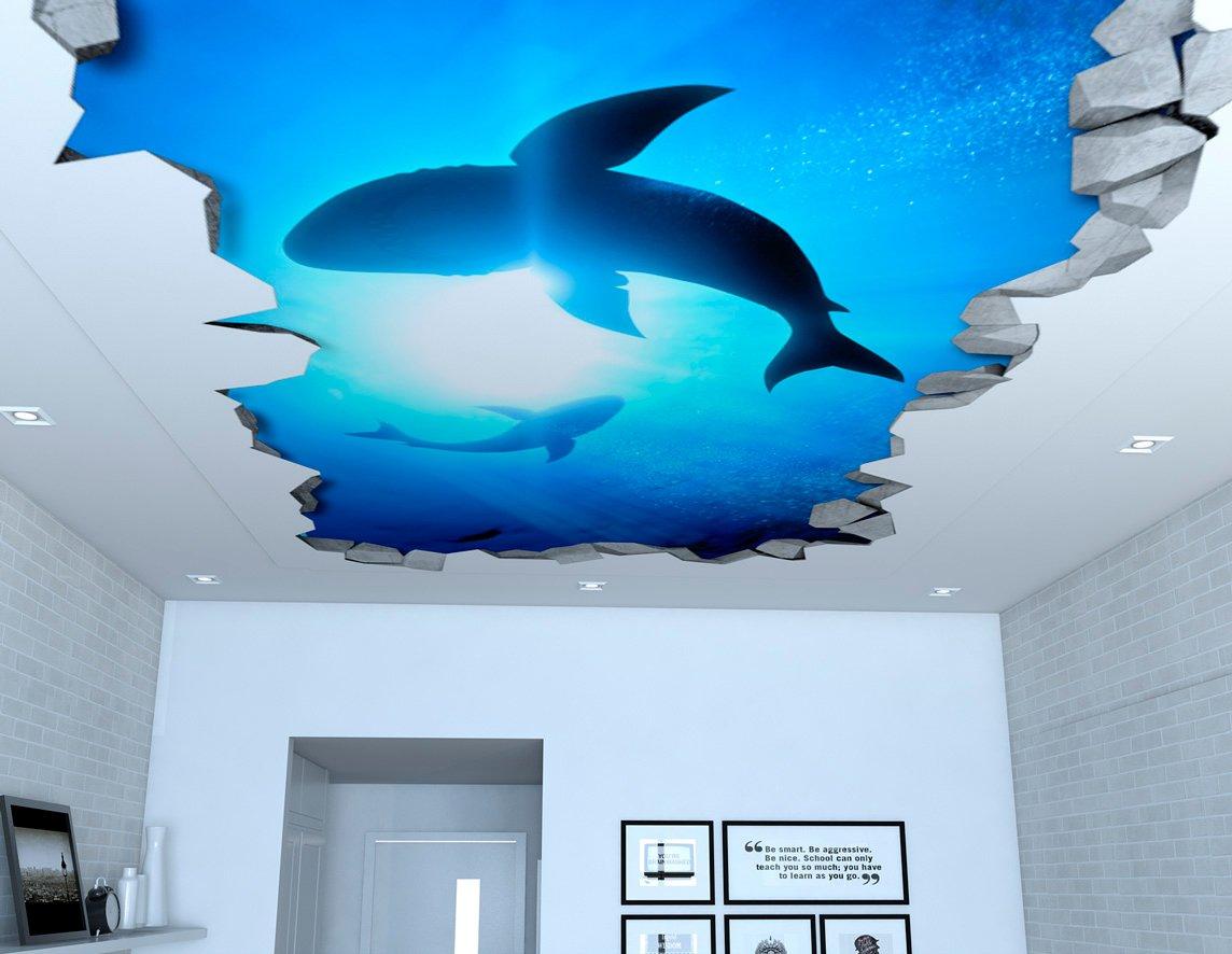Moonwallstickers 3D Wallpaper Effect (34,25 x 18,90 inches, Sharks 3D Effect Ceiling Decals)