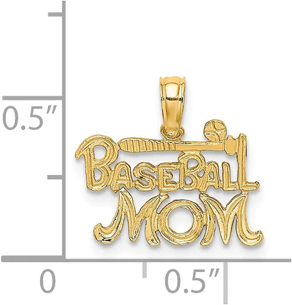 0.43 x 0.63 inches Yasmins Collection 14K Yellow Gold Baseball Mom with Bat and Ball Pendant