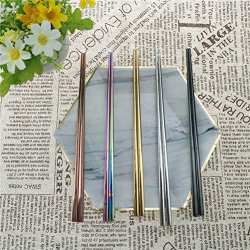 Fiesta 1 par de palillos de longitud del arco iris de Tablewarer de acero inoxidable Top de grado alimenticio chino...