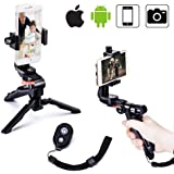 Zeadio Ergonomic Swivel Smartphone Handheld Grip Stabilizer Tripod Selfie Stick Handle Steadycam Kits with Bluetooth Remote, Fits iPhone Samsung Huawei Sony LG Nexus Nokia and all Phones