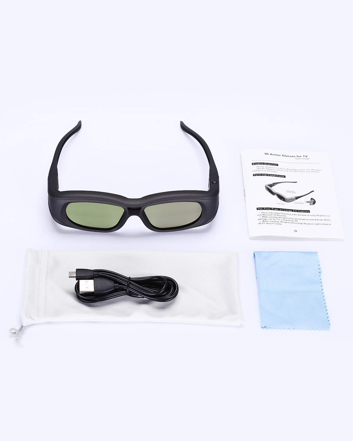Bluetooth 3D Glasses Active Shutter Rechargeable 3D Eyewear Compatible with Epson Sony LCD Projector//Sony Panasonic Samsung 3D Active TV Pack 1