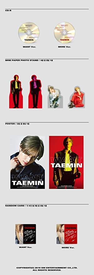 Random CD+Photocard+Poster+Gift Photo TAEMIN PRESS IT 1st Album SHINee SM New