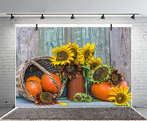 Leyiyi 10x8ft Photography Background Vintage Sunflower Thanksgiving Backdrop Rural Grunge Cabin Pumpkin Vase Basket Teapot Harvest Autumn Celebration Birthday Photo Portrait Vinyl Studio Video Prop
