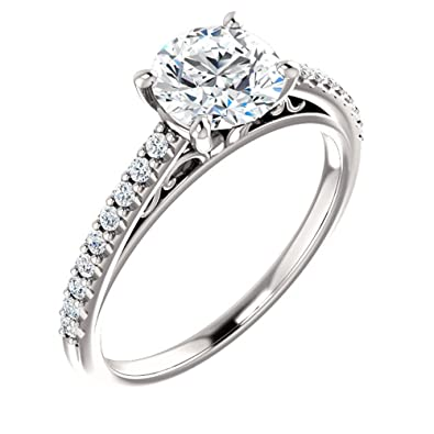Forever One Moissanite Near Colorless & Diamond Cathedral-Style Engagement  Ring in 14k White or Yellow Gold
