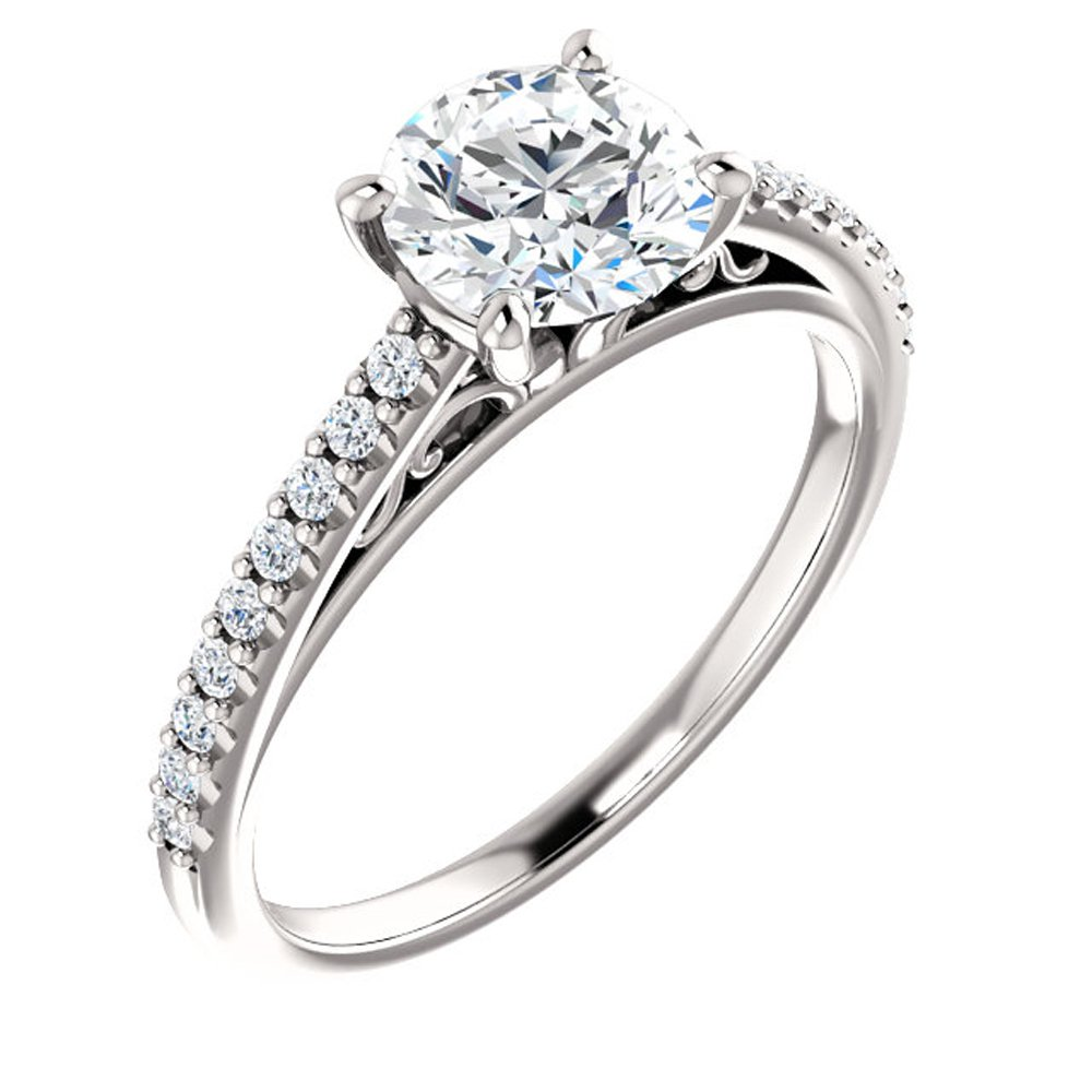 Forever One Moissanite Near Colorless & Diamond Engagement Ring in 14k White or Yellow Gold (white-gold, 8)