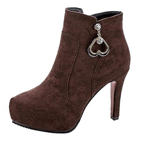 Logobeing Zapatos de Mujer Botas Mujer Invierno Botines Mujer Zapatos de Tacón Alto con Cremallera Altas
