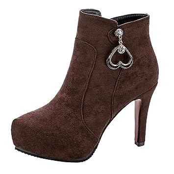 Logobeing Zapatos de Mujer Botas Mujer Invierno Botines Mujer Zapatos de Tacón Alto con Cremallera Altas Boots Botas Mujer (36,Marrón): Amazon.es: Equipaje