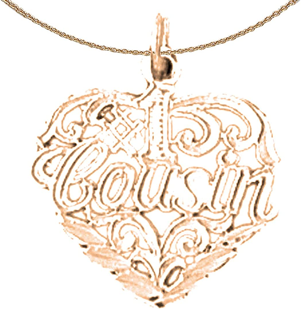 Rose Gold-plated Silver 20mm #1 Cousin Pendant