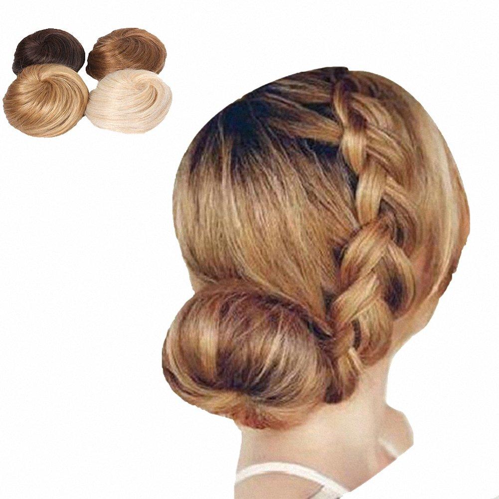 PrettyWit Bridal Drawstring Hair Chignons Hair Bun Hairpieces Hair Bun Updo Hairpiece Ribbon Ponytail Hair Extensions Donut Hair Chignons Hair Piece Wig(Chocolate Brown & Strawberry Blonde 1011)