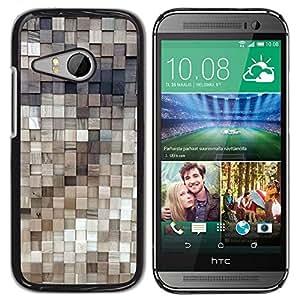 Be Good Phone Accessory // Dura Cáscara cubierta Protectora Caso Carcasa Funda de Protección para HTC ONE MINI 2 / M8 MINI // Polygon Gold Brass 3D Pattern Wood