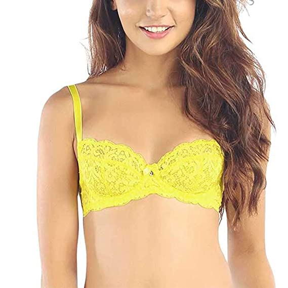 3bc013325 Candyskin Nylon Spandex Unlined Demi Bra (Yellow) (AV387)  Amazon.in   Clothing   Accessories