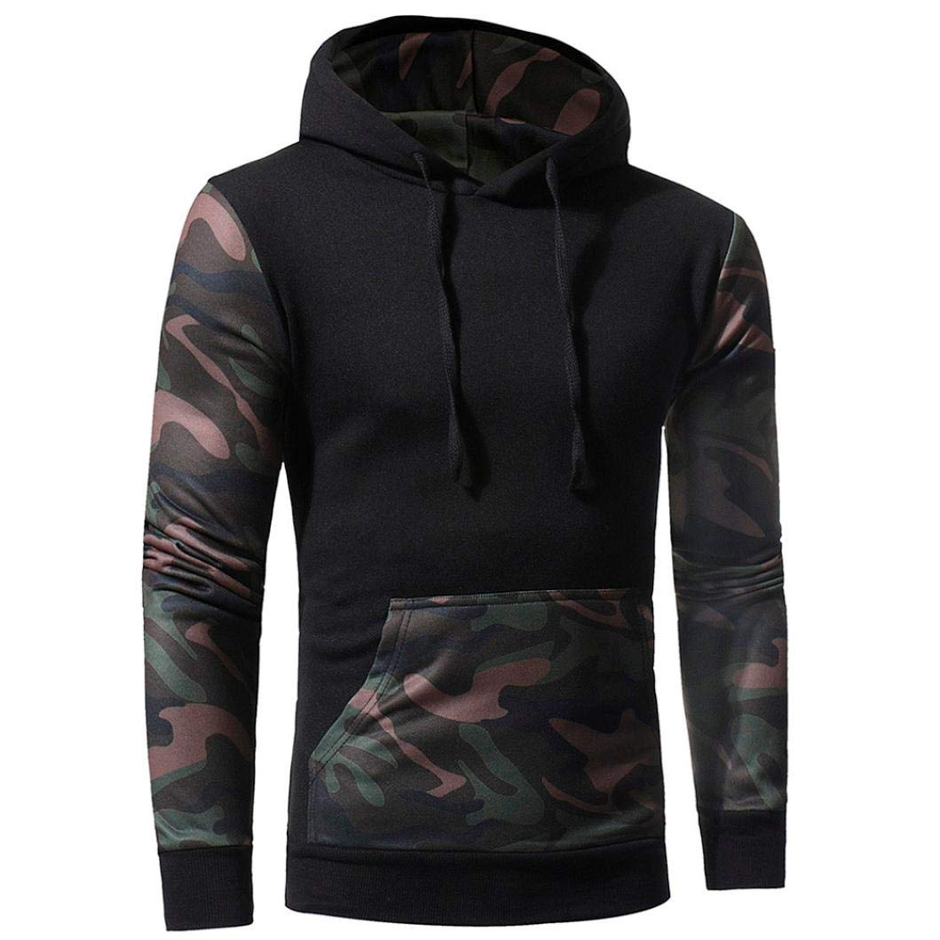 Danhjin Mens' Camouflage Long Sleeve Print Hooded Sweatshirt Tops Men's Jacket Coat Sport Outwear Motorcycle Jacket (Black, L)