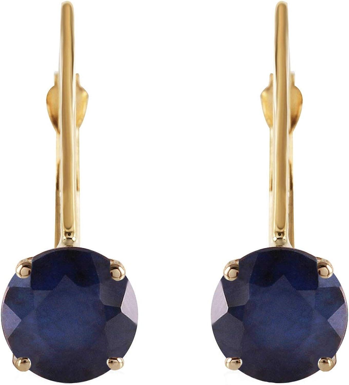 Black Sapphire Tear Drop Shaped 14K Solid Yellow Gold Dangle Leverback Earrings