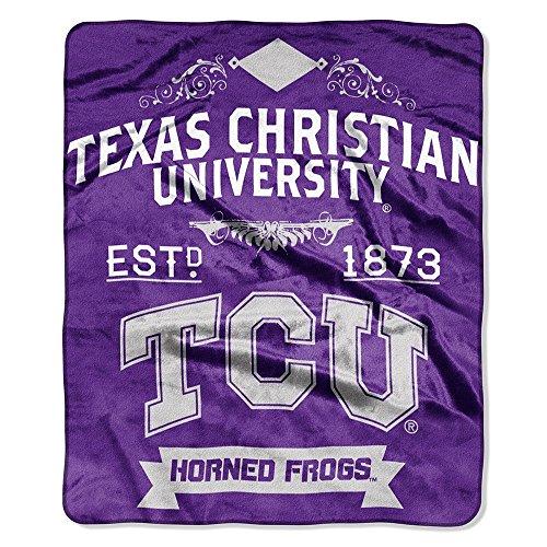 The Northwest Company TCU Texas Christian Horned Frogs 50x60 inch NCAA Label Design Royal Plush Raschel Blanket Throw