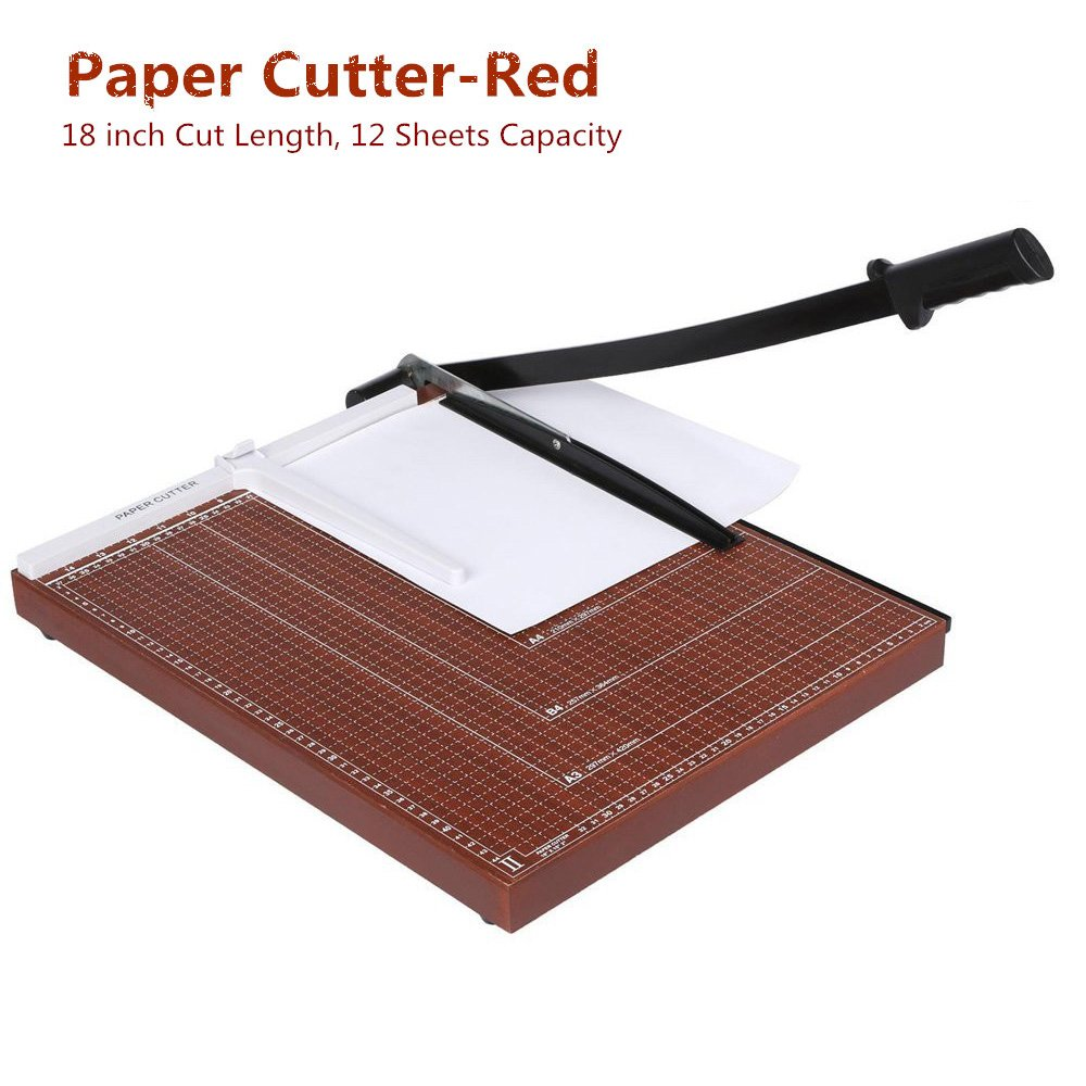Paper Cutter Guillotine 18 Inch, Heavy Duty A3 A4 Wooden Guillotine Photo Trimmer / Cutter Scrap Machine, 12-sheet Capacity for Home/Office -US STOCK (A3-Red-460X380cm)