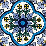 Rustico Tile and Stone TR6DOLORES Dolores Talavera Box of 45, 6″ x 6″, Navy, Blue, Yellow, Green, Off White