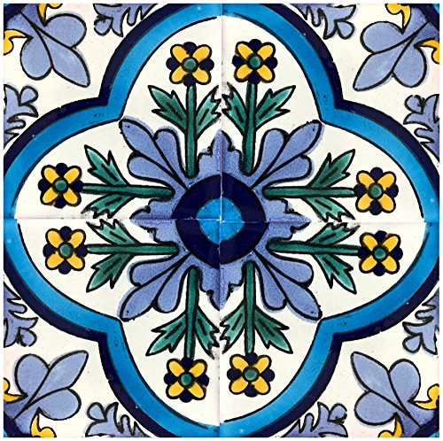 Rustico Tile and Stone TR6DOLORES Dolores Talavera Tile Box of 45, 6x6 Inch, Navy, Blue, Yellow, Green, Off White