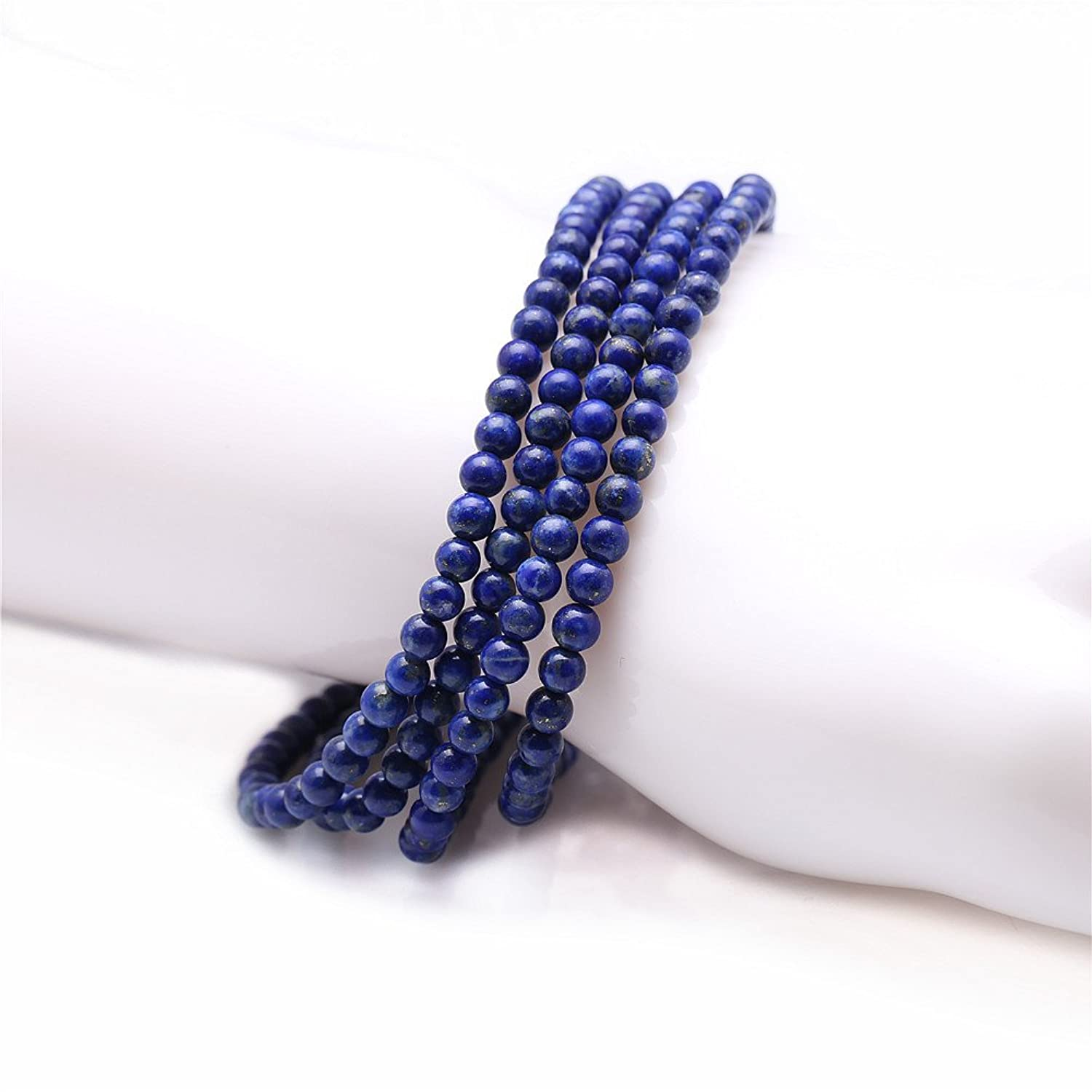 """Stunning 4mm Round Stackable Lapis-lazuli Bead Stretchy Bracelet / Necklace 28"""""""