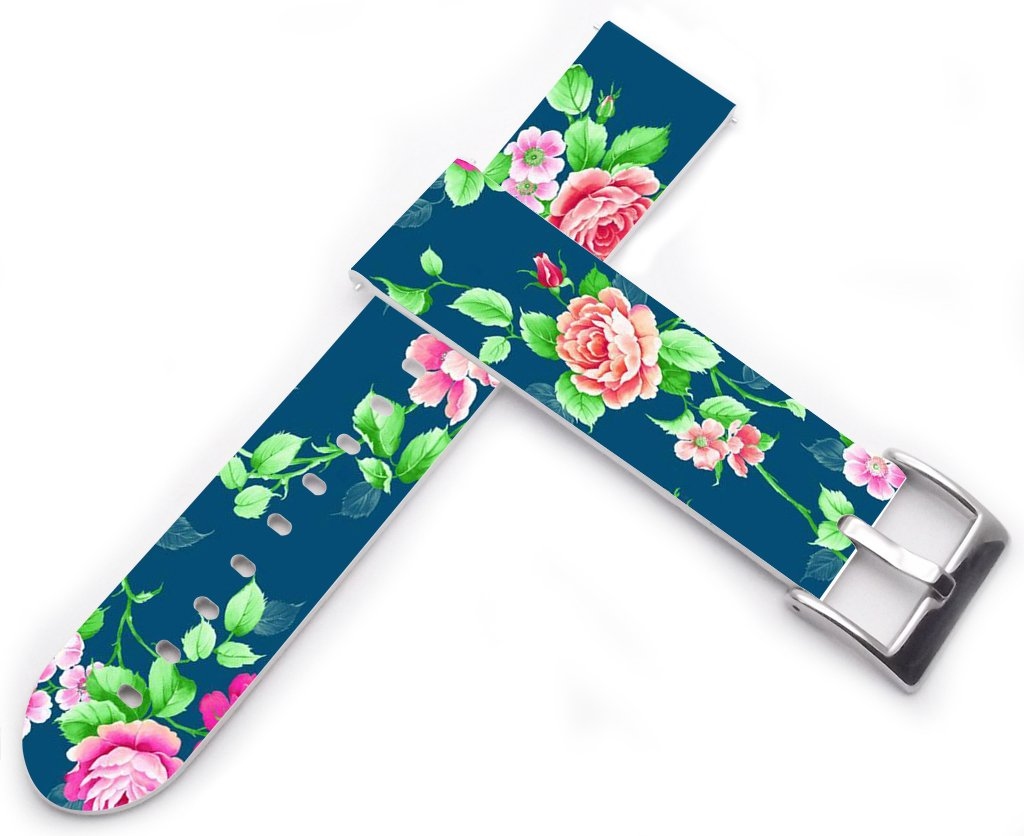 20mm Leather Watch Band - 20mm Watch Strap Compatible with Samsung Galaxy Gear S2 Classic/for Galaxy Watch 42mm / Gear Sport Colorful Beautiful Green Girly Flower Floral Art