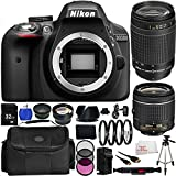 Nikon D3300 Digital SLR Camera Black (24.2MP) with Nikon AF-P DX NIKKOR 18-55mm f/3.5-5.6G Lens - International Version (No Warranty) + 70-300mm f/4-5.6G Lens + 19PC Bundle 32GB Accessory Kit