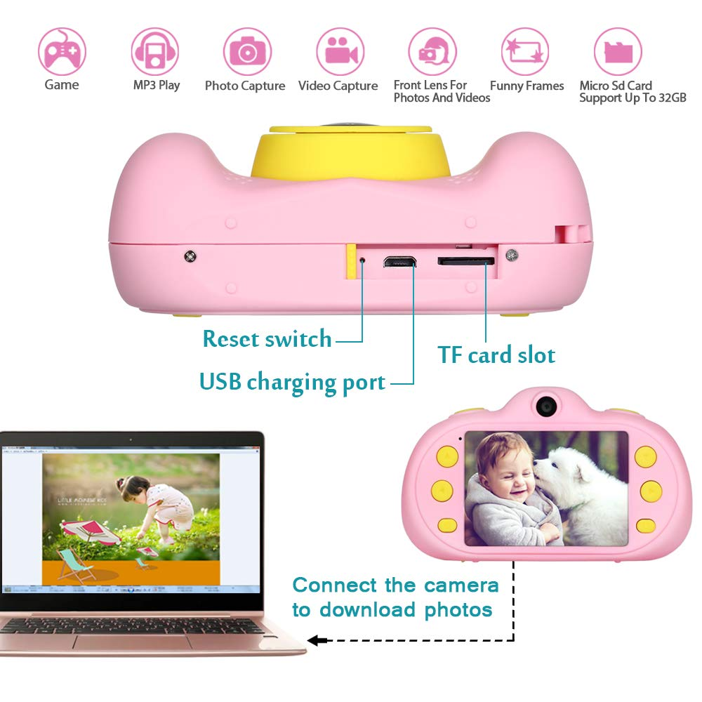 Kids Camera Toy Gift for 3-9 Year Old,BIUBLE 2.4'' HD 1080P Child Digital Camcorder Soft Silicone Shell Shockproof Multifunction Rechargeable Video Camera with Puzzle Game MP3 by BIUBLE (Image #3)