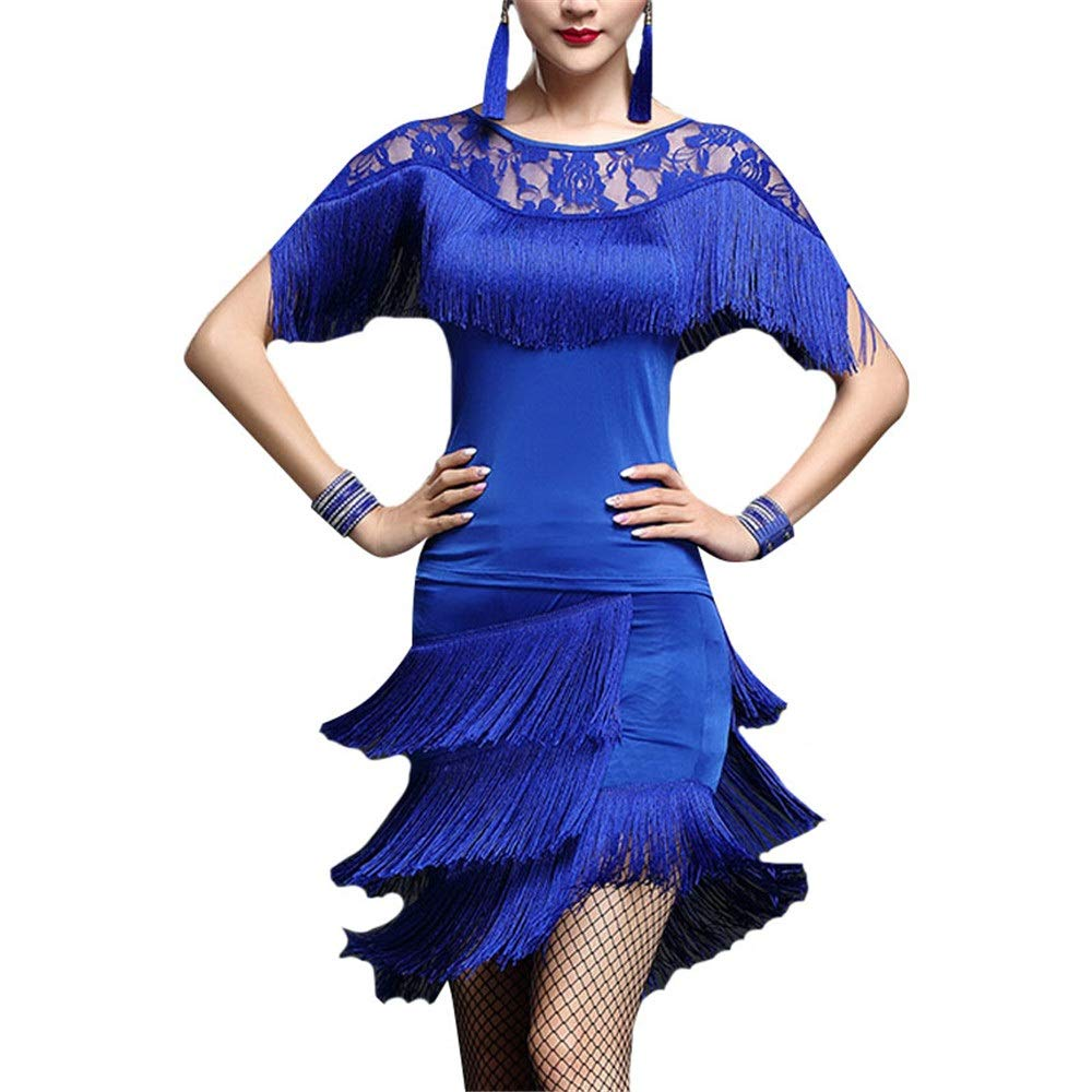 Bleu Femmes glands Tango Rumba robe de danse latine tenue Outfit hommeches chauve-souris en dentelle avec jupe danse formation pratique robe salle de bal Dancewear Perforhommece Costume Robe Costume Gatsby Medium