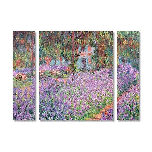 Trademark Fine Art BL01178-3PC-SET-LG Artist's Garden at Giverny by Claude Monet Décor, Large