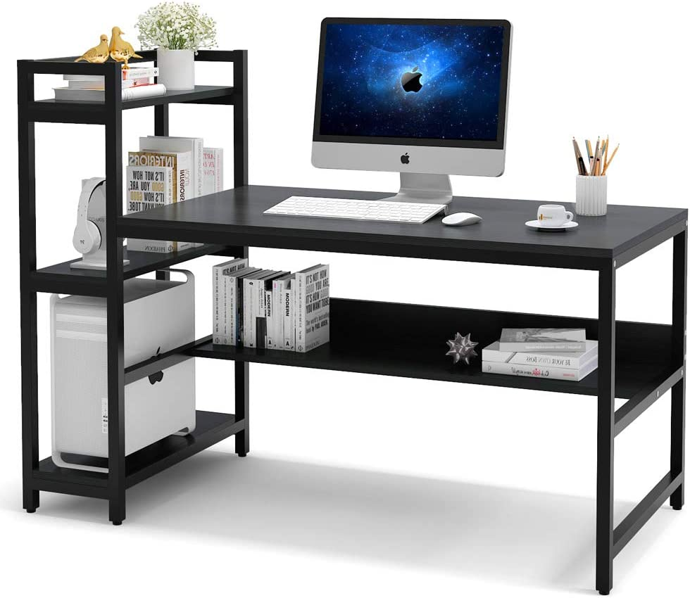 Tribesigns Computer Desk with 32-Tier Storage Shelves, 32 inch Modern Large  Office Desk Computer Table Studying Writing Desk Workstation with Bookshelf