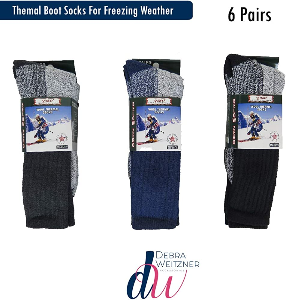 Mens Womens Thermal Socks 6 Pairs Heavy Extreme Cold Weather Boot Socks By DEBRA WEITZNER