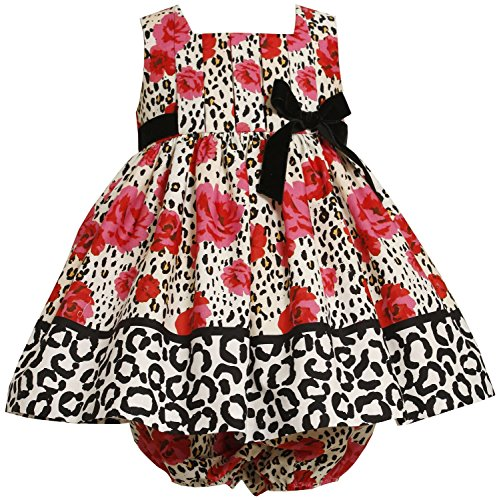 Bonnie Jean Baby 3M-24M RED Ivory Black Rose Leopard Animal Print Dress (3/6M, Red)