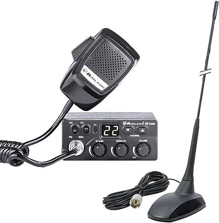 Estación de Radio CB Midland M Zero Plus + Antena CB PNI Extra 48 con imán