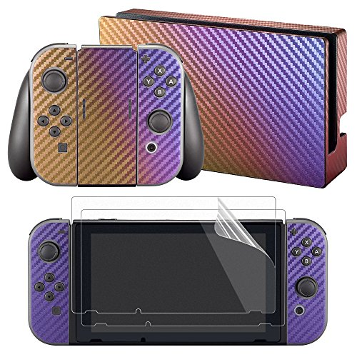 eXtremeRate®Purple and Gold Chameleon Full Set Faceplate Skin Decal Stickers for Nintendo Switch with 2 Pcs Screen Protectors (Console & Joy-con & Dock & Grip)