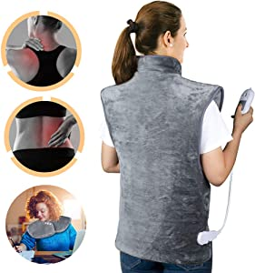 "CWWHY Electric Heating Pads for Pain Relief, Auto-Off, Fast Heating, Washable, for Shoulder Back Soothing Muscle Pain and Tension Relief, 23.6""X39.4"""